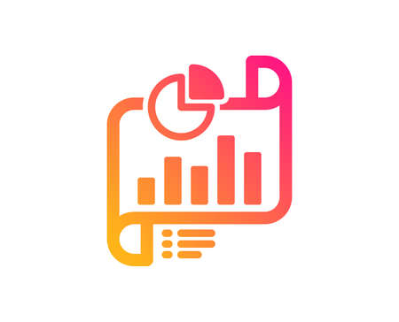 Report document icon. Column graph sign. Growth diagram, pie chart symbol. Classic flat style. Gradient report document icon. Vector Illustration