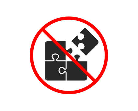 No or Stop. Puzzle icon. Engineering strategy sign. Prohibited ban stop symbol. No puzzle icon. Vector