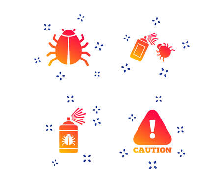 Bug disinfection icons. Caution attention symbol. Insect fumigation spray sign. Random dynamic shapes. Gradient fumigation icon. Vector