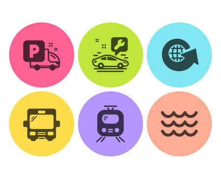 World globe, Train and Car service icons simple set. Bus, Truck parking and Waves signs. Around the world, Tram. Transportation set. Flat world globe icon. Circle button. Vector