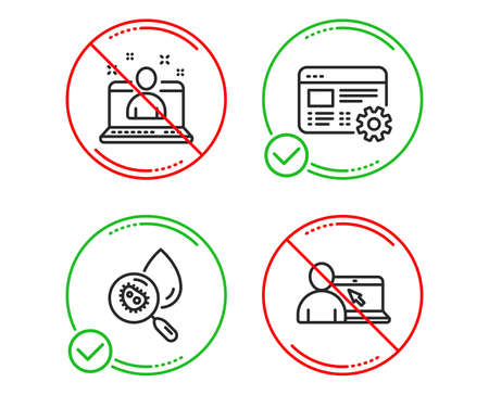Do or Stop. Best manager, Water analysis and Web settings icons simple set. Online education sign. Best developer, Aqua bacteria, Engineering tool. Internet lectures. Science set. Vector