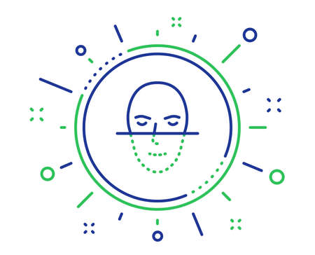 Face recognition line icon. Faces biometrics sign. Head scanning symbol. Quality design elements. Technology face recognition button. Editable stroke. Vector