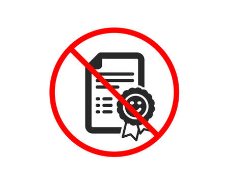 No or Stop. Smile award icon. Positive feedback rating sign. Customer satisfaction symbol. Prohibited ban stop symbol. No smile icon. Vector Illustration