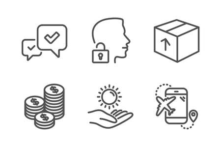Package, Unlock system and Approve icons simple set. Sun protection, Coins and Flight destination signs. Delivery pack, Access granted. Business set. Line package icon. Editable stroke. Vector