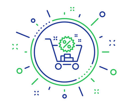 Shopping cart line icon. Sale discounts sign. Clearance symbol. Quality design elements. Technology shopping cart button. Editable stroke. Vector 写真素材 - 124282795