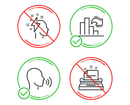 Do or Stop. Brainstorming, Decreasing graph and Human sing icons simple set. Typewriter sign. Lightning bolt, Column chart, Talk. Instruction. Education set. Line brainstorming do icon. Vector Vektoros illusztráció