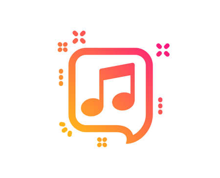 Musical note in speech bubble icon. Music sign. Classic flat style. Gradient musical note icon. Vector