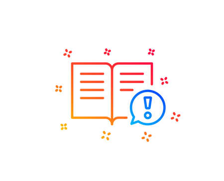 Interesting facts line icon. Exclamation mark sign. Book symbol. Gradient design elements. Linear facts icon. Random shapes. Vector Illustration