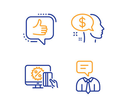 Pay, Online shopping and Like icons simple set. Support service sign. Beggar, Black friday, Thumbs up. Human talking. People set. Linear pay icon. Colorful design set. Vector