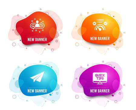 Liquid badges. Set of No internet, Paper plane and Recruitment icons. Web tutorials sign. Bandwidth meter, Airplane, Manager change. Quick tips.  Gradient no internet icon. Flyer fluid design. Vector