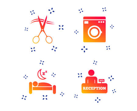 Hotel services icons. Washing machine or laundry sign. Hairdresser or barbershop symbol. Reception registration table. Quiet sleep. Random dynamic shapes. Gradient hotel icon. Vector