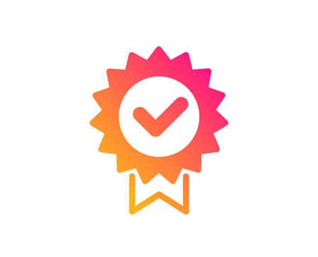 Icona del certificato. Segno di premio verificato. Simbolo accettato o confermato. Stile piatto classico. Icona del certificato di gradiente. Vettore