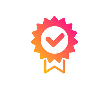Certificate icon. Verified award sign. Accepted or confirmed symbol. Classic flat style. Gradient certificate icon. Vector Illustration