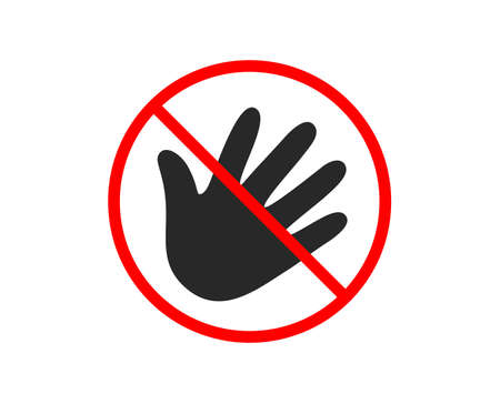 No or Stop. Hand wave icon. Palm sign. Prohibited ban stop symbol. No hand icon. Vector