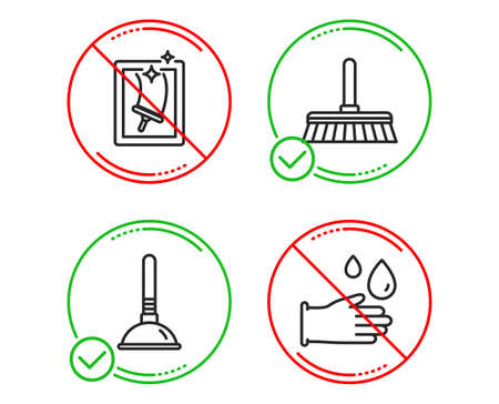 Do or Stop. Cleaning mop, Plunger and Window cleaning icons simple set. Rubber gloves sign. Sweep a floor, Clogged pipes cleaner, Housekeeping service. Hygiene equipment. Cleaning set. Vector