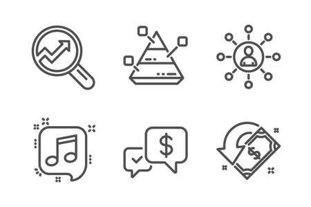 Analytics, Networking and Musical note icons simple set. Pyramid chart, Payment received and Cashback signs. Audit analysis, Business communication. Business set. Line analytics icon. Editable stroke  イラスト・ベクター素材