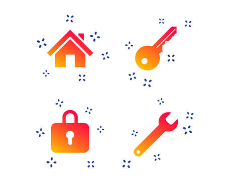 Home key icon. Wrench service tool symbol. Locker sign. Main page web navigation. Random dynamic shapes. Gradient home icon. Vector