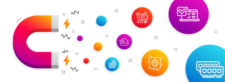 Magnet attracting. Online survey, Timer and Send mail icons simple set. Repairman, Loan house and Ram signs. Quiz test, Time management. Technology set. Line online survey icon. Editable stroke Illustration