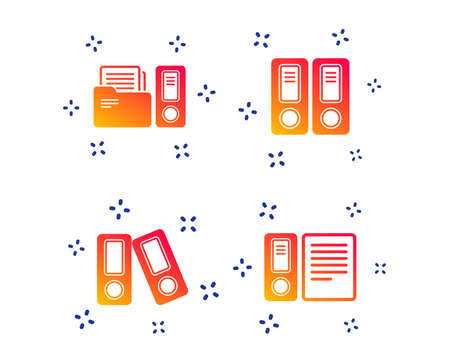 Accounting icons. Document storage in folders sign symbols. Random dynamic shapes. Gradient accounting icon. Vector