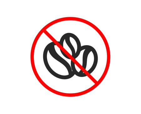No or Stop. Coffee beans icon. Hot drink sign. Whole bean beverage symbol. Prohibited ban stop symbol. No coffee-berry beans icon. Vector