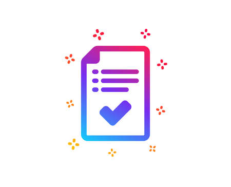 Approved checklist icon. Accepted or confirmed sign. Report symbol. Dynamic shapes. Gradient design approved checklist icon. Classic style. Vector Illustration
