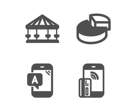Set of testing, Carousels and Pie chart icons. Contactless payment sign. Phone test, Attraction park, 3d graph. Phone money.  Classic design ab testing icon. Flat design. Vector