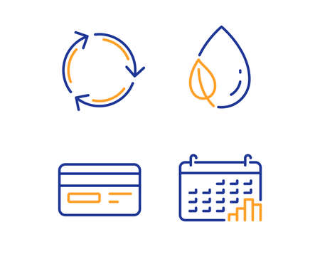 Credit card, Leaf dew and Recycling icons simple set. Calendar graph sign. Card payment, Water drop, Reduce waste. Annual report. Business set. Linear credit card icon. Colorful design set. Vector