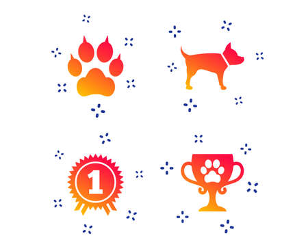 Pets icons. Cat paw with clutches sign. Winner cup and medal symbol. Dog silhouette. Random dynamic shapes. Gradient pets icon. Vector Ilustrace