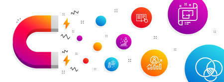 Magnet attracting. Startup, Stats and Architectural plan icons simple set. Read instruction, Career ladder and Euler diagram signs. Developer, Business analysis. Science set. Line startup icon Illustration
