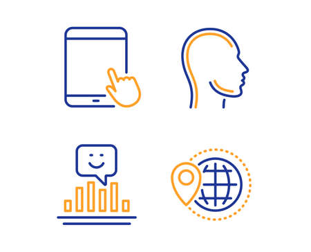 Head, Tablet pc and Smile icons simple set. World travel sign. Human profile, Touchscreen gadget, Positive feedback. Map pointer. Business set. Linear head icon. Colorful design set. Vector