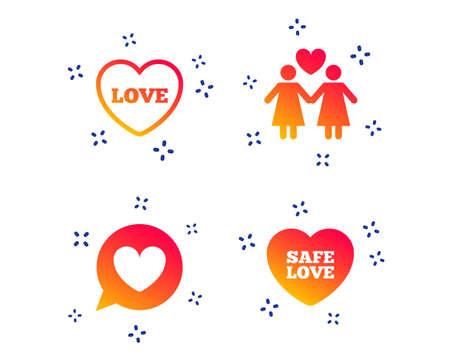 Lesbians couple sign. Speech bubble with heart icon. Female love female. Heart symbol. Random dynamic shapes. Gradient sex icon. Vector