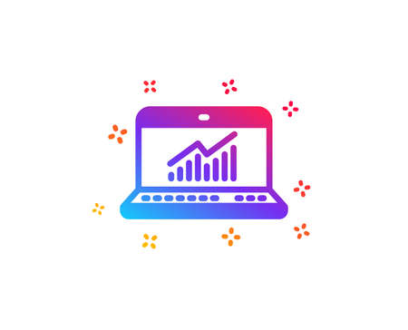 Data Analysis and Statistics icon. Report graph or Chart sign. Computer data processing symbol. Dynamic shapes. Gradient design online statistics icon. Classic style. Vector