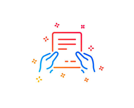 Hold Document line icon. Agreement Text File sign. Contract with signature symbol. Gradient design elements. Linear receive file icon. Random shapes. Vector