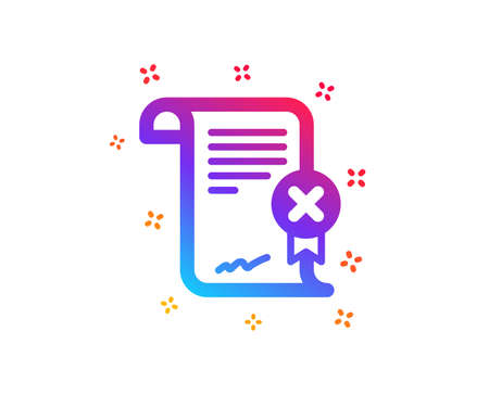 Reject certificate icon. Decline document sign. Wrong file. Dynamic shapes. Gradient design reject certificate icon. Classic style. Vector