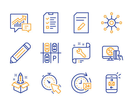 Pencil, Online shopping and Multichannel icons simple set. Startup, Timer and Parking place signs. Interview, Accounting and Spanner symbols. 24h delivery, Edit document and Mail. Line pencil icon Illustration