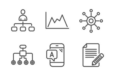 Diagram, testing and Management icons simple set. Restructuring, Multichannel and Article signs. Growth graph, Phone test. Science set. Line diagram icon. Editable stroke. Vector Çizim