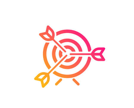 Target icon. Marketing targeting strategy symbol. Aim with arrows sign. Classic flat style. Gradient target icon. Vector