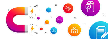 Magnet attracting. Diagram, Ab testing and Management icons simple set. Restructuring, Multichannel and Article signs. Growth graph, Phone test. Science set. Line diagram icon. Editable stroke. Vector