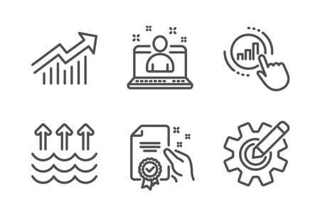 Demand curve, Graph chart and Certificate icons simple set. Evaporation, Best manager and Cogwheel signs. Statistical report, Get report. Science set. Line demand curve icon. Editable stroke. Vector Illustration