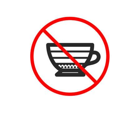 No or Stop. Cappuccino coffee icon. Hot drink sign. Beverage symbol. Prohibited ban stop symbol. No cappuccino icon. Vector Иллюстрация