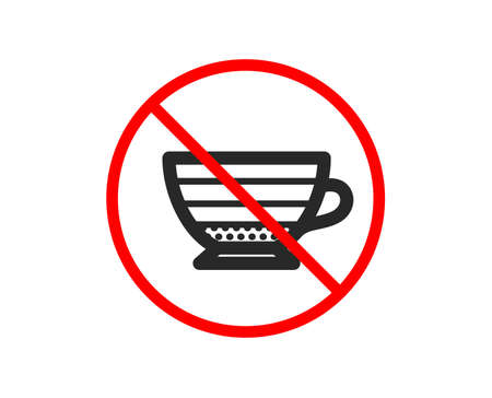 No or Stop. Cappuccino coffee icon. Hot drink sign. Beverage symbol. Prohibited ban stop symbol. No cappuccino icon. Vector Illustration