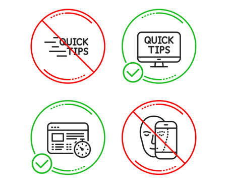 Do or Stop. Web timer, Education and Web tutorials icons simple set. Face biometrics sign. Online test, Quick tips, Facial recognition. Science set. Line web timer do icon. Prohibited ban stop Ilustração
