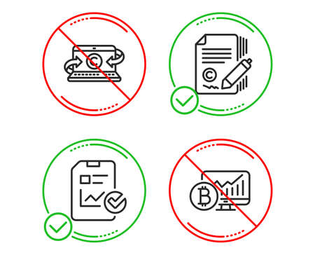 Do or Stop. Report checklist, Copywriting notebook and Copywriting icons simple set. Bitcoin chart sign. Sales growth file, Writer laptop, Ð¡opyright signature. Cryptocurrency statistics. Science set