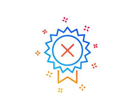Reject medal line icon. Decline award sign. Gradient design elements. Linear reject medal icon. Random shapes. Vector
