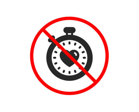 No or Stop. Heart in Timer icon. Love symbol. Valentines day stopwatch sign. Prohibited ban stop symbol. No heartbeat timer icon. Vector