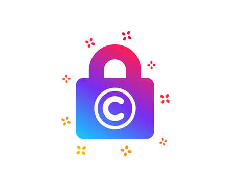 Copyright locker icon. Copywriting sign. Private Information symbol. Dynamic shapes. Gradient design copyright locker icon. Classic style. Vector