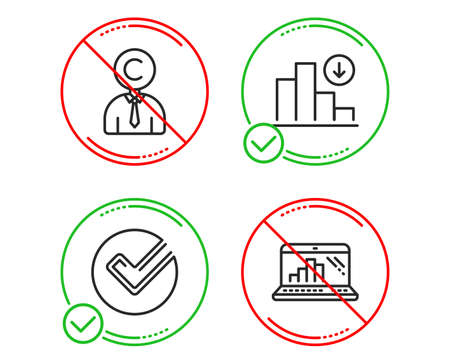Do or Stop. Copyrighter, Verify and Decreasing graph icons simple set. Graph laptop sign. Writer person, Selected choice, Crisis chart. Mobile report. Science set. Line copyrighter do icon. Vector