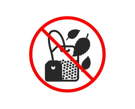 No or Stop. Mint Tea bag icon. Fresh herbal beverage sign. Mentha leaves symbol. Prohibited ban stop symbol. No mint bag icon. Vector Illustration