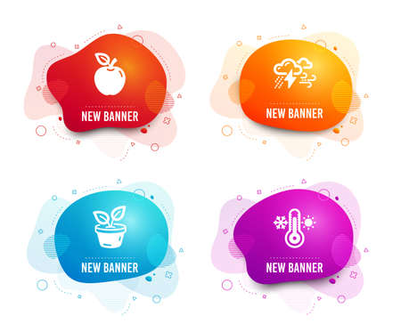 Liquid badges. Set of Bad weather, Apple and Leaves icons. Thermometer sign. Clouds, Fruit, Grow plant.  Gradient bad weather icon. Flyer fluid design. Abstract shapes. Vector