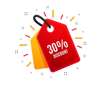 Sale tag. 30% Discount. Sale offer price sign. Special offer symbol. Shopping banner. Market offer. Vector